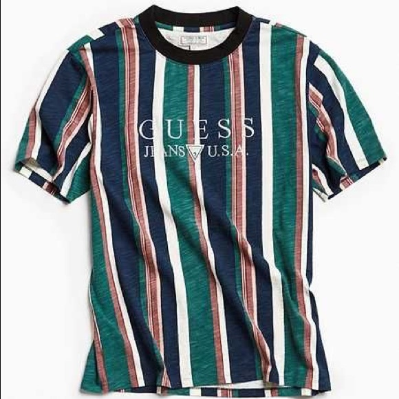 15c5e7b41cd7d Guess 81 vertical striped tee vintage green blue